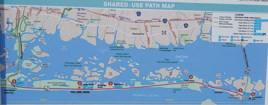 Jones Beach bike path map