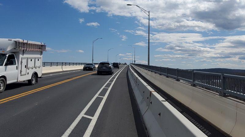 The Empire State Trail as a bike lane on the Kingston-Rhinecliff Bridge