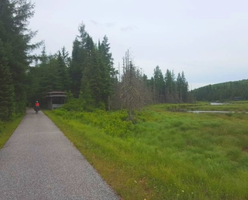 Bike path with picnic shelter