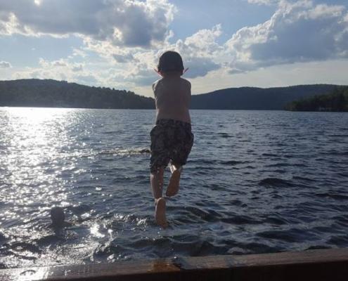Swimming in Lac Mercier
